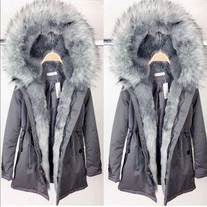 Jackets & Coats - Grey Faux Fur Coat